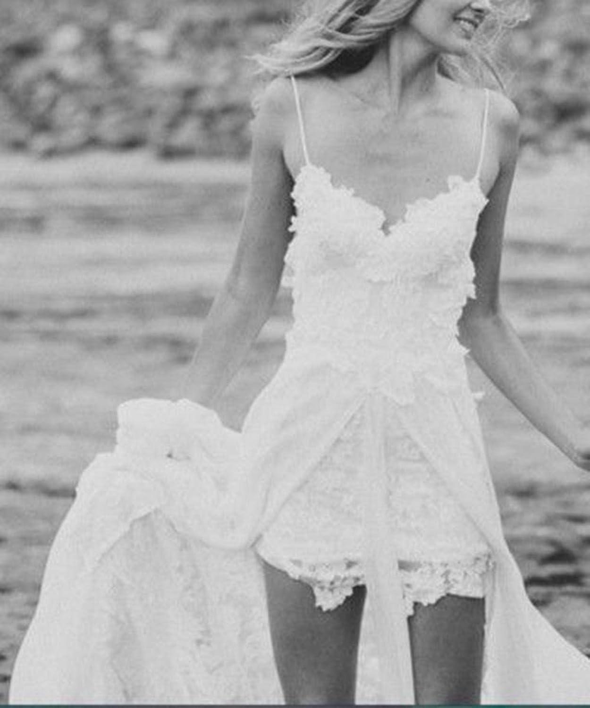 Sexy Beach Wedding Dress A line Lace Chiffon Bohemian Vestidos de Novia at Amazon Womens Clothing store: