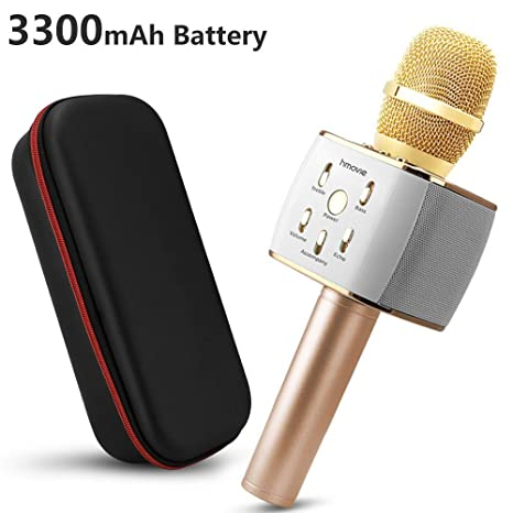 3300mAh Wireless Karaoke Microphone 12w Hi-Fi Bluetooth Speaker Player for  iPhone Android Smartphone