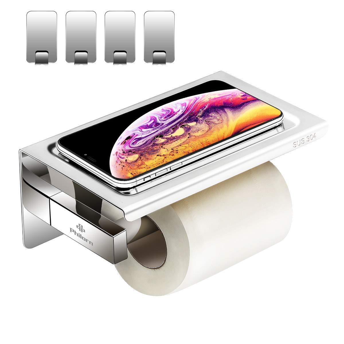 Philorn Porte-Papier Toilette Mural, Derouleur Papier WC avec Support de  Téléphone   3M 71eedc0c75d5