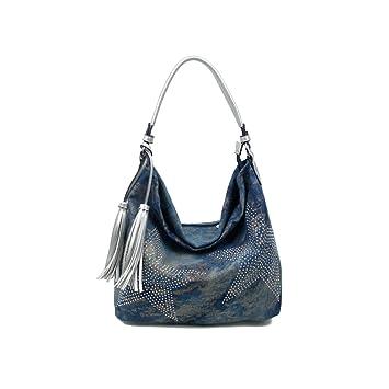 0b4c367a56ca0 OBC ital-design XXL Damen Stern Tasche Fransen Handtasche Canvas Baumwolle  Strasssteine Gold-Silber