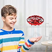 BOMPOW Boys Toys Kids Flying Drones Mini Hand Controlled Flying Ball Drone with 2 Speed and LED Light for Kids, Boys and Girls Gift (Red)