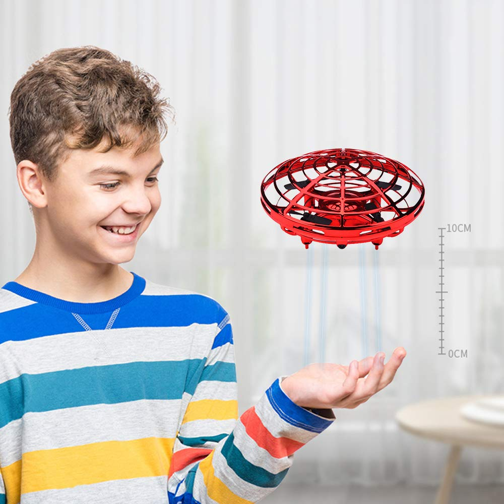 Boys Toys Kids Flying Drones Mini Hand Controlled Flying Ball Drone with 2 Speed and LED Light for Kids, Boys and Girls Gift (Red) by BOMPOW