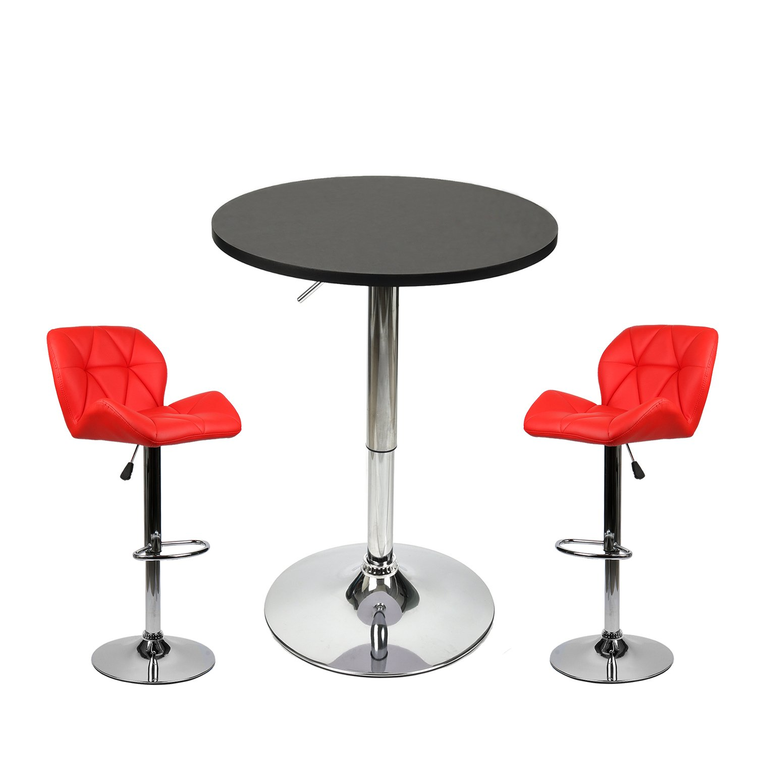 PULUOMIS 35 Inches Height Pub Table Round Black Mdf Top, with 2 Red Contemporary Chrome Air Lift Barstool Leather Padded Adjustable Swivel Stools