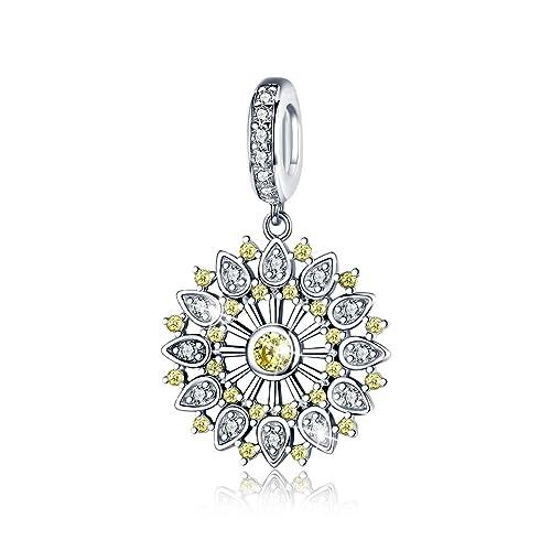 European 925 Silver CZ Charm Beads Pendant Fit Bracelet Necklace Chain