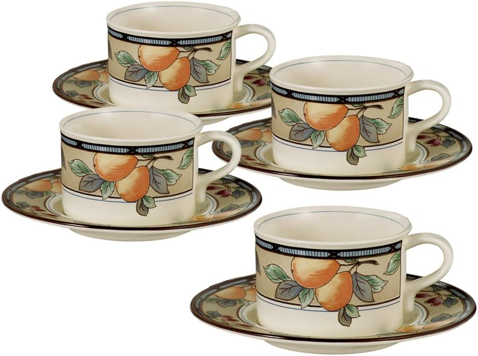 Set of 4 Mikasa Garden Harvest Teacups and Saucers