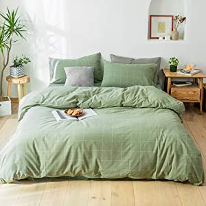 Matcha Green Plaid Duvet Cover Set Washed Cotton Breathable Bedding Great White Grid Print Reversible Queen Geometric Bed Set with Zipper Easy Care for Adults