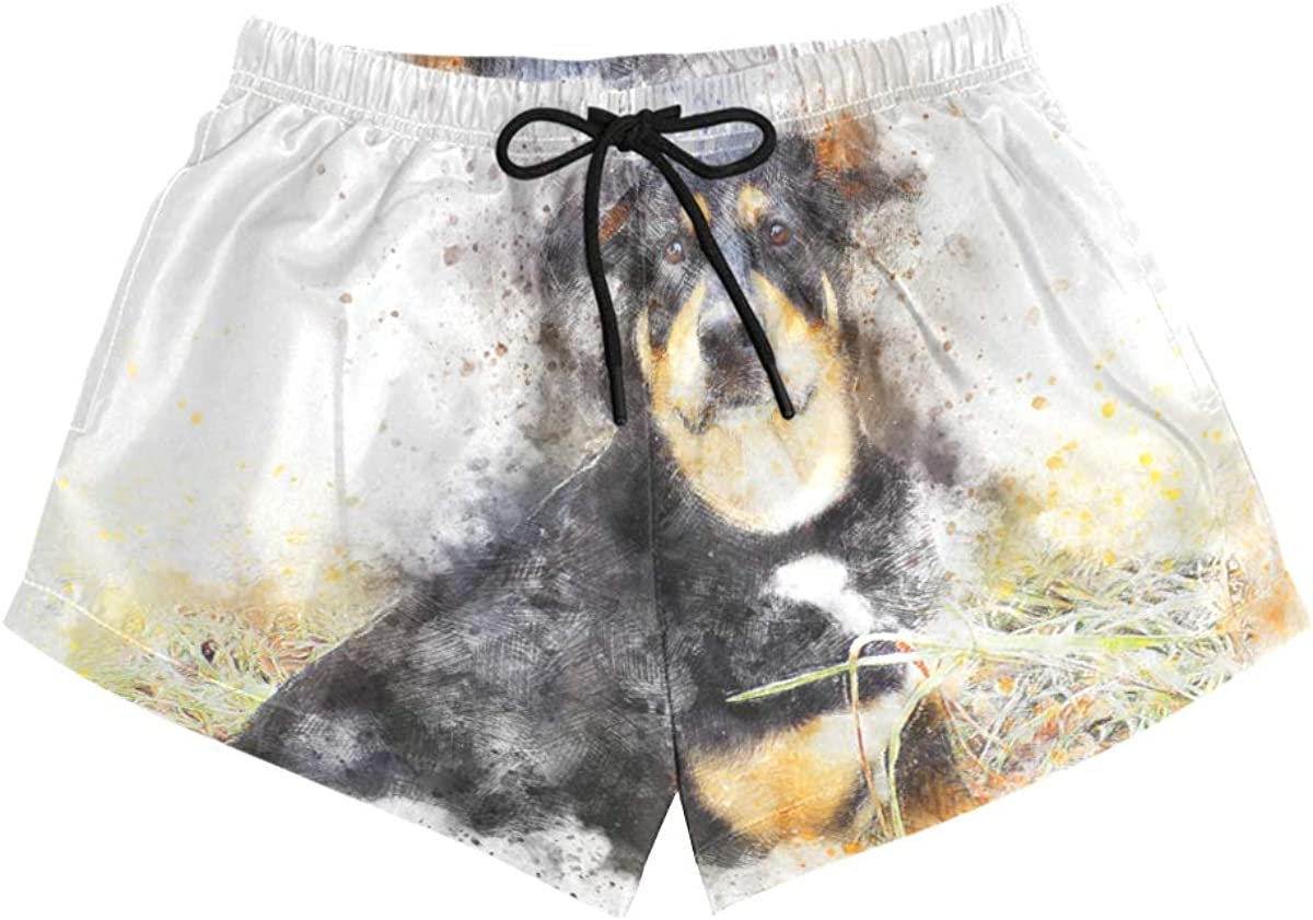 HEOEH Womens Alaska Dog Watercolor Painting Beach Shorts Pants Ladies Boardshort Swimming Trunks