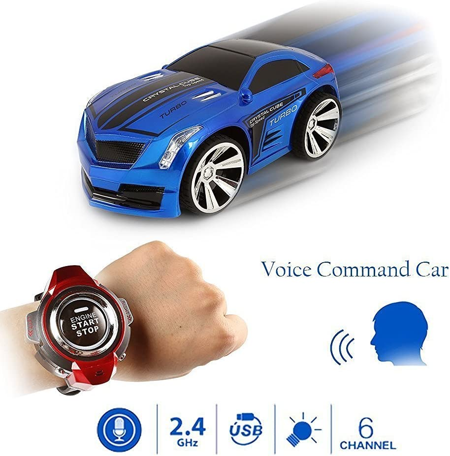 DeXop Voice Control Car 2.4Ghz RC Vehicle Portable Voice-activated Radio Control Creative Voice Remote Control Car Red DEX1601225-2