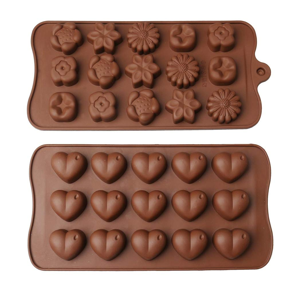 nuosen Chocolate Molds Heart Shape Candy Cake Sweet Mould Set for Valentines Day Baking Decoration