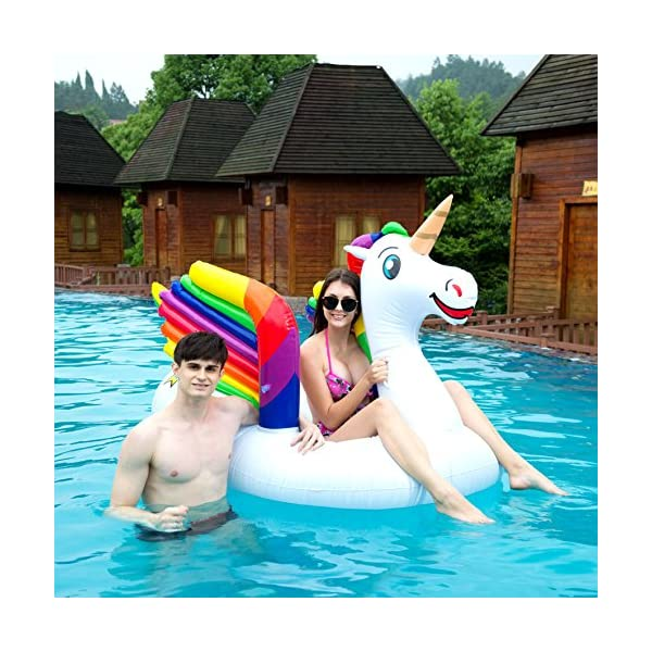 JOYIN Giant Inflatable Unicorn Pool Float with Wings, Alicorn/Pegasus Beach Floats, Swim Party Toys, Pool Island, Summer… 7