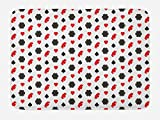 Lunarable Casino Bath Mat, Casino Poker Theme Pattern with Card Suits and Chips Fortune Wealth Luck Win, Plush Bathroom Decor Mat with Non Slip Backing, 29.5 W X 17.5 W Inches, Red Black White