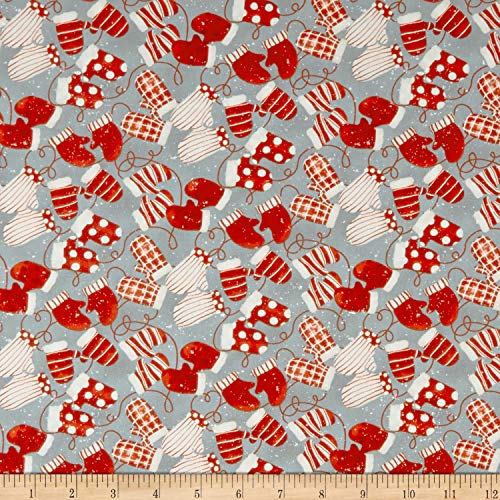 Henry Glass Sheltering Snowman Mittens Fabric, Gray,, used for sale  Delivered anywhere in USA
