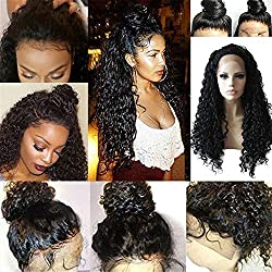 Hot Sale Fashion Black Long Curly Lace Front Full Wig Brazilian Human Hair Wave Wig Natural Looking