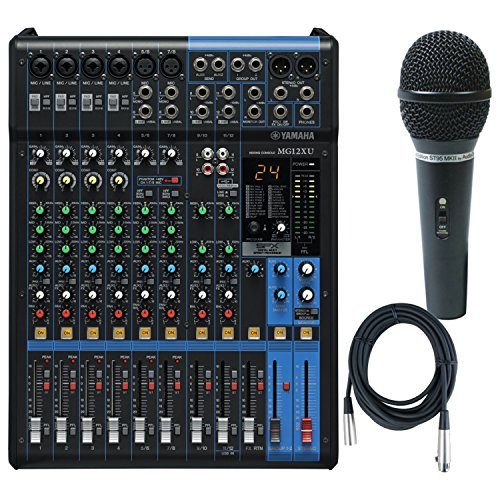 Yamaha MG12XU 12 Input, 4 Bus Mxer (with Compression, Effects, USB) w/ Microphone and Cable