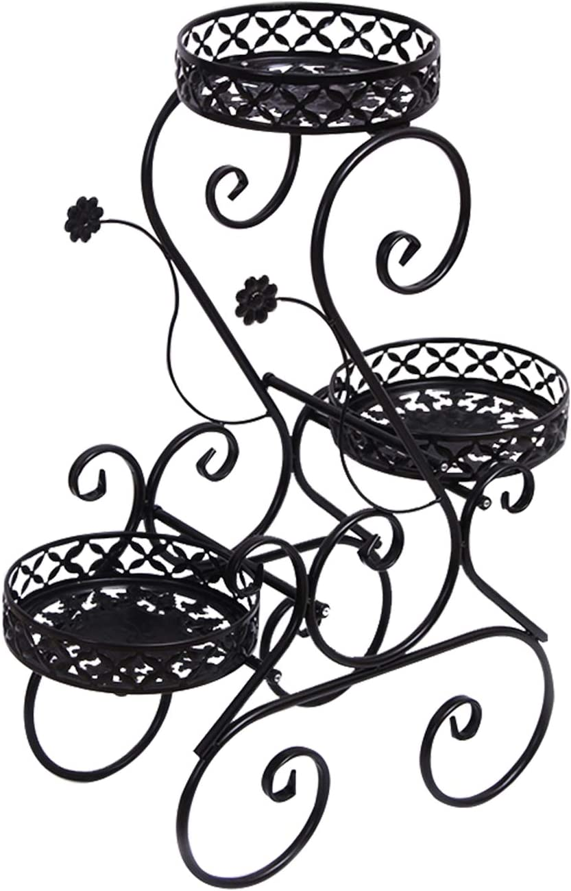 3-H Wrought Iron Plant Stand & Flower Pot Holder Garden Heavy Duty 3-Tier,Metal Tall Plant Stand Iron Flower Stand,Modern Indoor & Outdoor Home Décor(black)