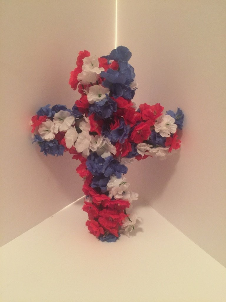 Small Cross Wall Decor - Patriotic (Red, White, and Blue) flowers