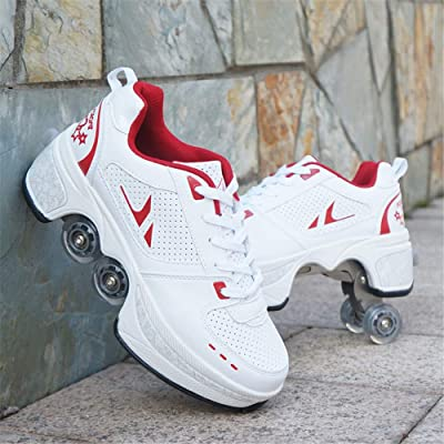 Double-Row Skates Shoes with Wheels and Casual Shoes Deform Wheel Adult Children's Automatic Walking Shoes Invisible for Outdoor Sports,B,42: Home & Kitchen