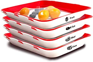 Creative Food Preservation Tray Stackable Food Tray Food Storage Containers Reusable Durable Odor Free Keeping Food Fresh Suitable for Vegetables Fruits Meat Fish (4pcs Trays + 32pcs Food Label)