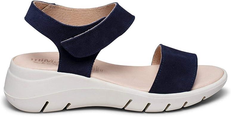 360 - Sandalia de Piel Extra Flexible Azul Marino: Amazon.es: Zapatos y complementos