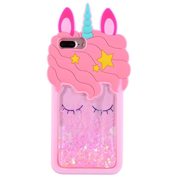 big sale aecdb c9589 Mulafnxal Quicksand Unicorn Case for iPhone 6 Plus/6S Plus/7 Plus/8  Plus+,Soft Silicone 3D Cartoon Animal Cover,Kids Girls Cute Bling Glitter  Rubber ...