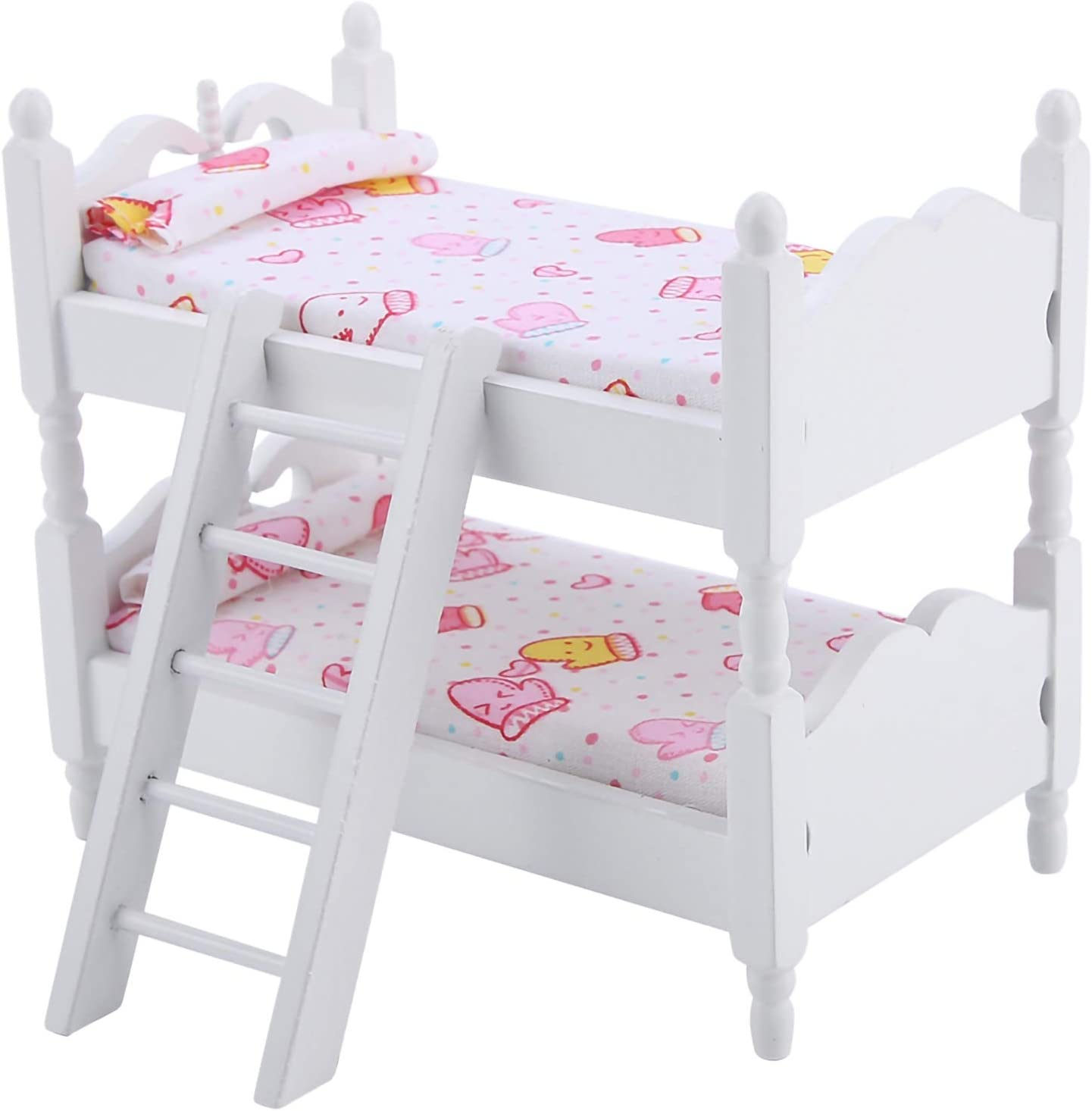 Josopa Doll House Bunk Bed Mini Furniture Dollhouse Children Bedroom Bunk Bed Model Wood Toys for 1:12 Doll Furniture