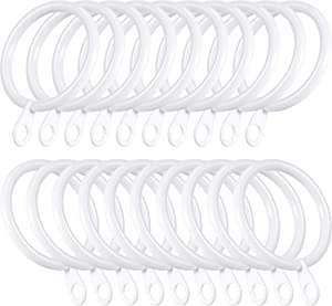 Shappy 20 Packs Metal Drapery Curtain Rings Hanging Rings for Curtains and Rods, Drape Sliding Eyelet Rings 30 mm Internal Diameter (White)
