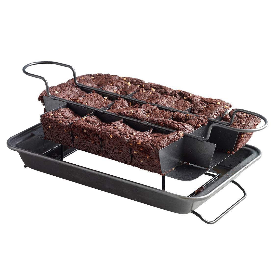Kingrol Nonstick Brownie Pan, Baking Pan with Built-In Slicer & Rack
