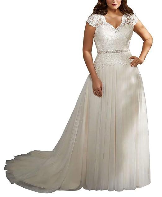 Fannydress 2019 Plus Size Wedding Dresses For Bride Beaded