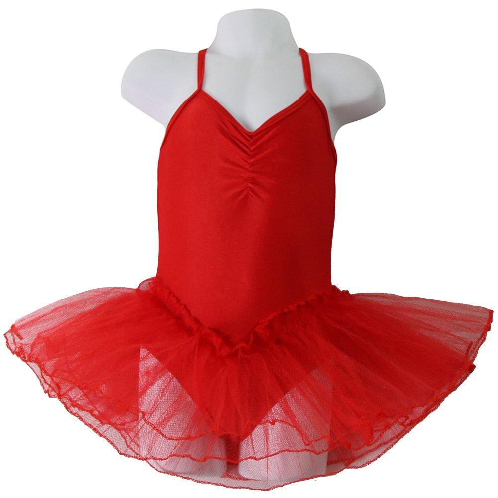 1e22bc18e247 Amazon.com  Girls Red Ballerina Leotard with attached Tutu Size 2 4 ...