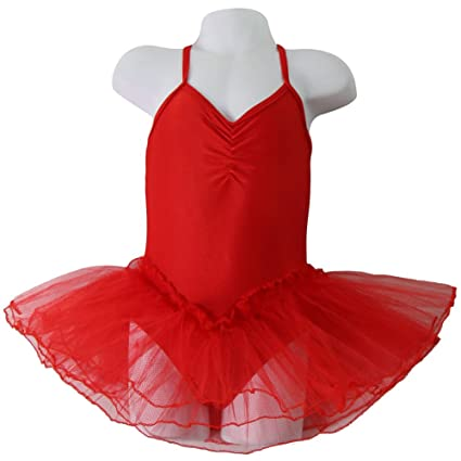 026ba2df0 Amazon.com: Girls Red Ballerina Leotard with attached Tutu Size 2/4: Toys &  Games