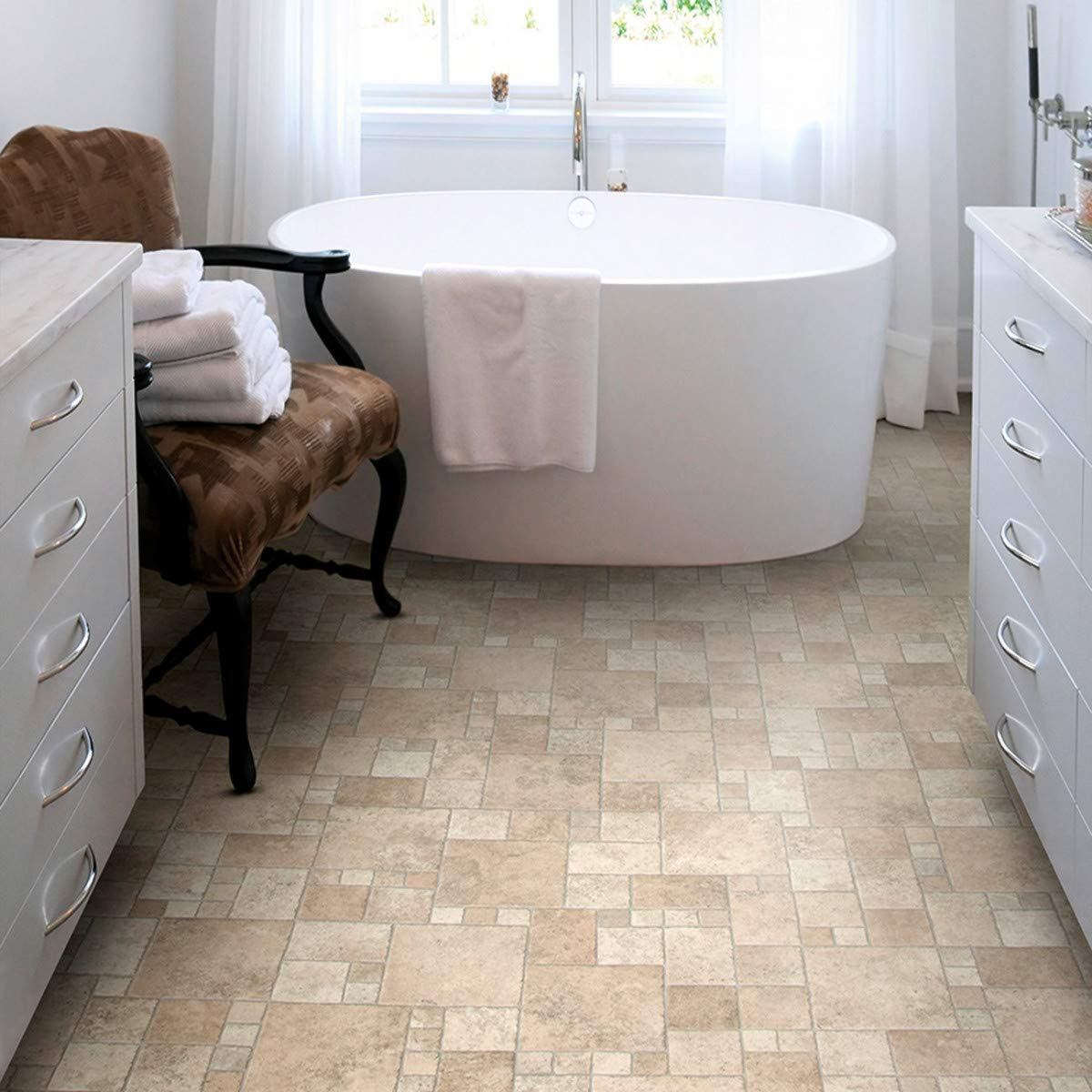 Natural Stone Tile Effect Cushioned Vinyl Flooring Sheet Lino Beige Cream Random Stone Design Kitchen Bathroom Extra Thick Roll Atlas Toucan 535 Multiple Sizes Available Sample Buy Online In