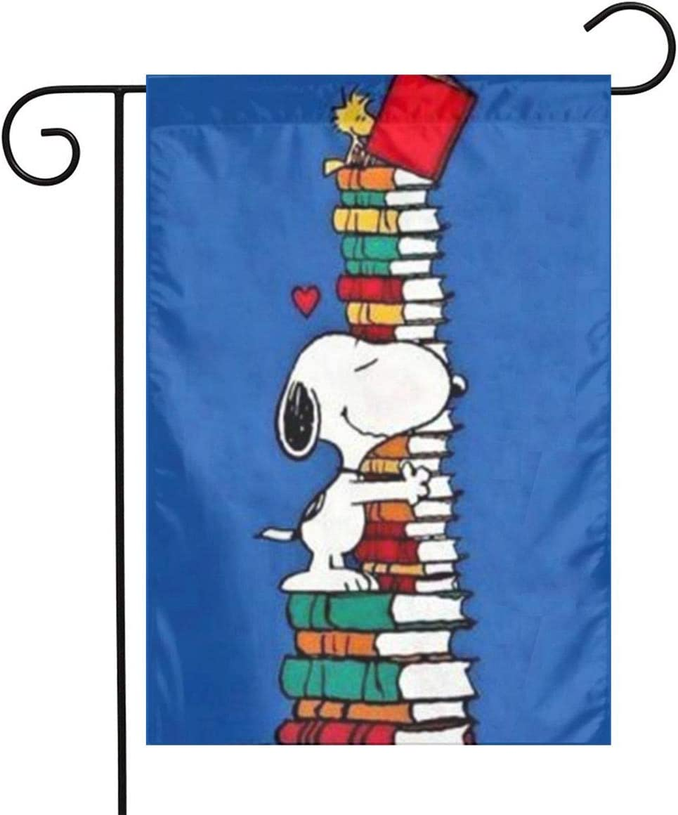 LoV Snoopy Read Books Garden Flag Home Outdoor/Indoor Yard Flag 12 X 18 Inch