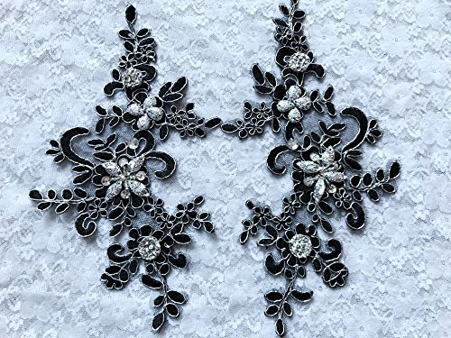 New Handmade Sew on Crystal Black Patches Sequins Rhinestones Lace Trim Applique for Dress (Black Sequin Rhinestone)