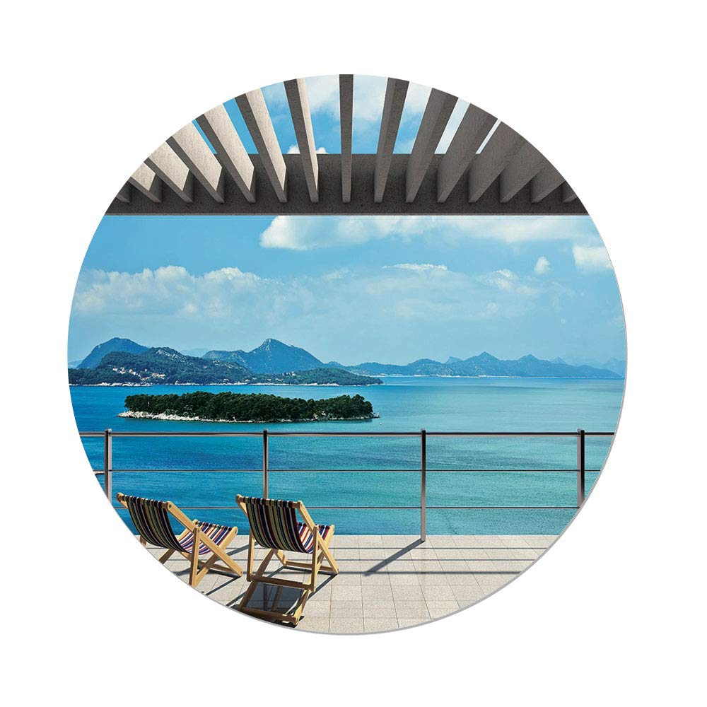 iPrint Polyester Round Tablecloth,Beach Theme Decor,Modern Tile Roof Top House Garden Sea View Image,Brown White Green Blue,Dining Room Kitchen Picnic Table Cloth Cover Outdoor Indoor