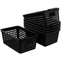 Bblie Cestas de Almacenamiento de Plástico, Rectangular, Negro