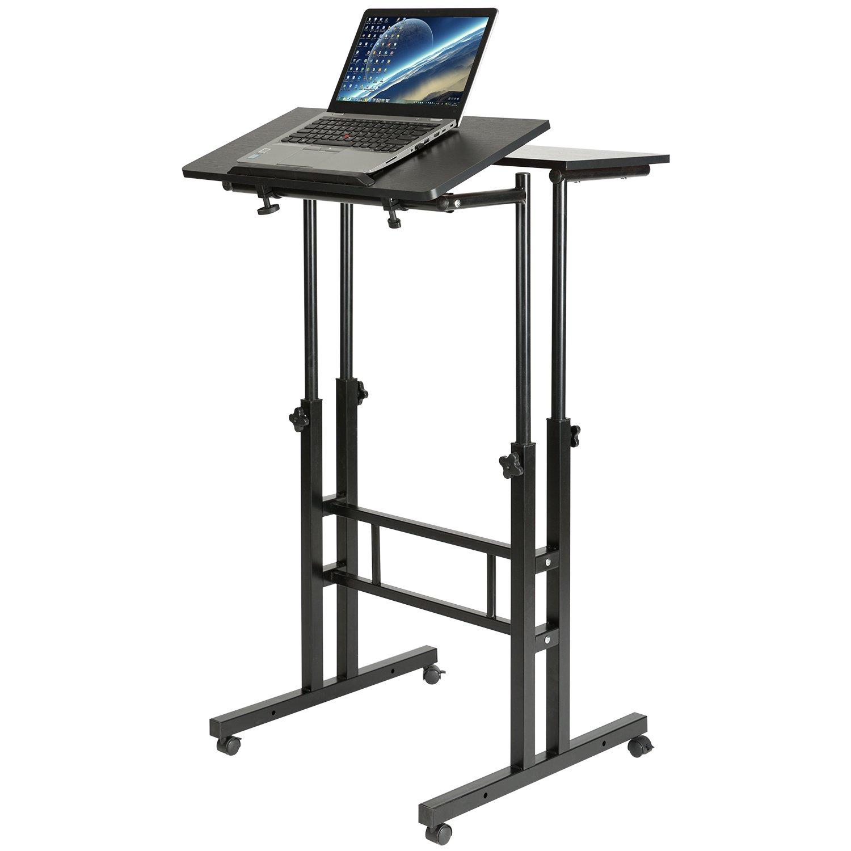 DOEWORKS Mobile Stand Up Desk Height Adjustable Computer Work Station Home Office Desk with Wheels,Black by DOEWORKS