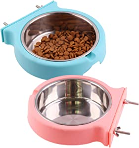 kahson Crate Dog Bowl, Removable Stainless Steel Food & Water Bowls Hanging Pet Cage Coop Cup for Puppy Cat Birds Rabbits(2 Pack)