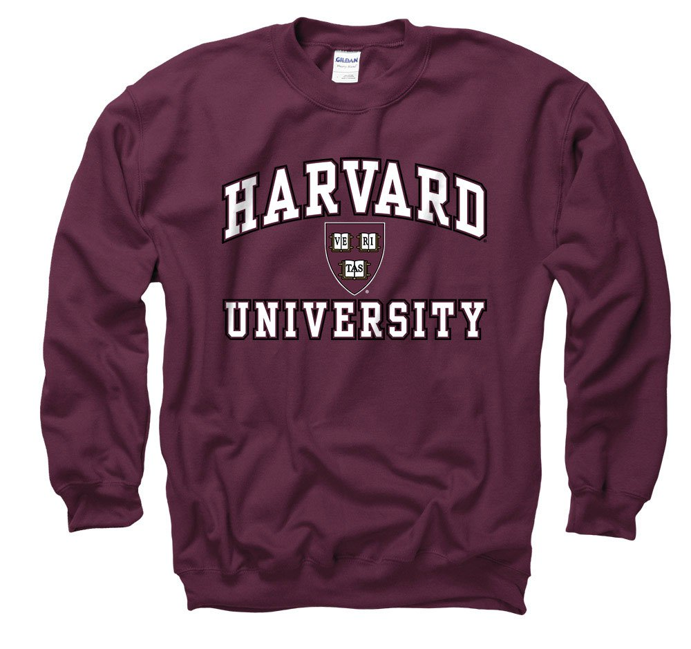 Harvard University Arch White In Black Out Seal Crew Neck Sweatshirt by Shop College Wear