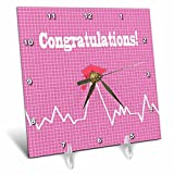3dRose Beverly Turner Graduation Design - Heart Beat with Grad Cap on Graph Paper, Medical Theme, Pink - 6x6 Desk Clock (dc_262860_1)