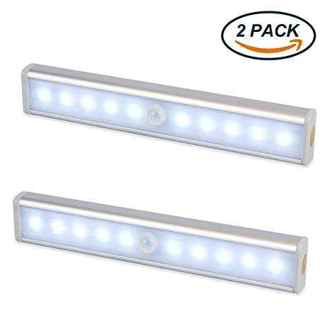 Luz Nocturna,EMIUP Sensor de movimiento 10 LED alimentado por batería sensor de luz interior
