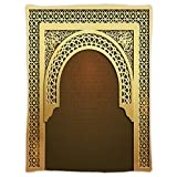 iPrint Super Soft Throw Blanket Custom Design Cozy Fleece Blanket,Moroccan,Middle Eastern Ramadan Greeting Scroll Arch Figure Celebration Holy Eid Theme,Golden Brown,Perfect for Couch Sofa or Bed