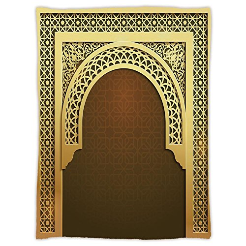 iPrint Super Soft Throw Blanket Custom Design Cozy Fleece Blanket,Moroccan,Middle Eastern Ramadan Greeting Scroll Arch Figure Celebration Holy Eid Theme,Golden Brown,Perfect for Couch Sofa or Bed by iPrint