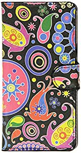 JUJEO Paisley Flowers Leather Magnetic Case with Stand for Sony Xperia Z3 D6653, D6603 - Non-Retail Packaging - Multi