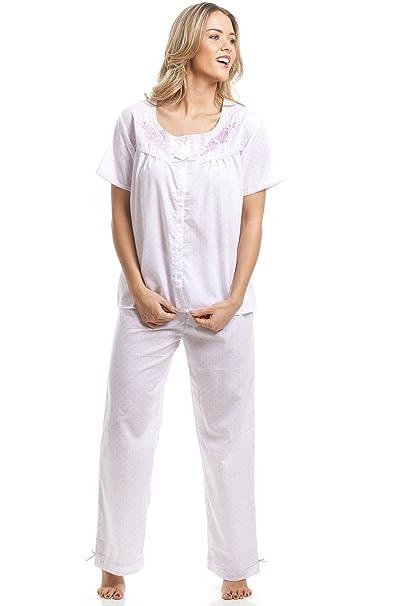 Camille - Conjunto de pijama clásico de manga corta - Estampado de lunares rosas - Blanco