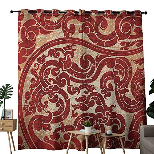 (NUOMANAN Curtains Antique,Thai Culture Vector Abstract Background Flower Pattern Wallpaper Design Artwork Print,Ru,Treatments Thermal Insulated Light Blocking Drapes Back for Bedroom 52