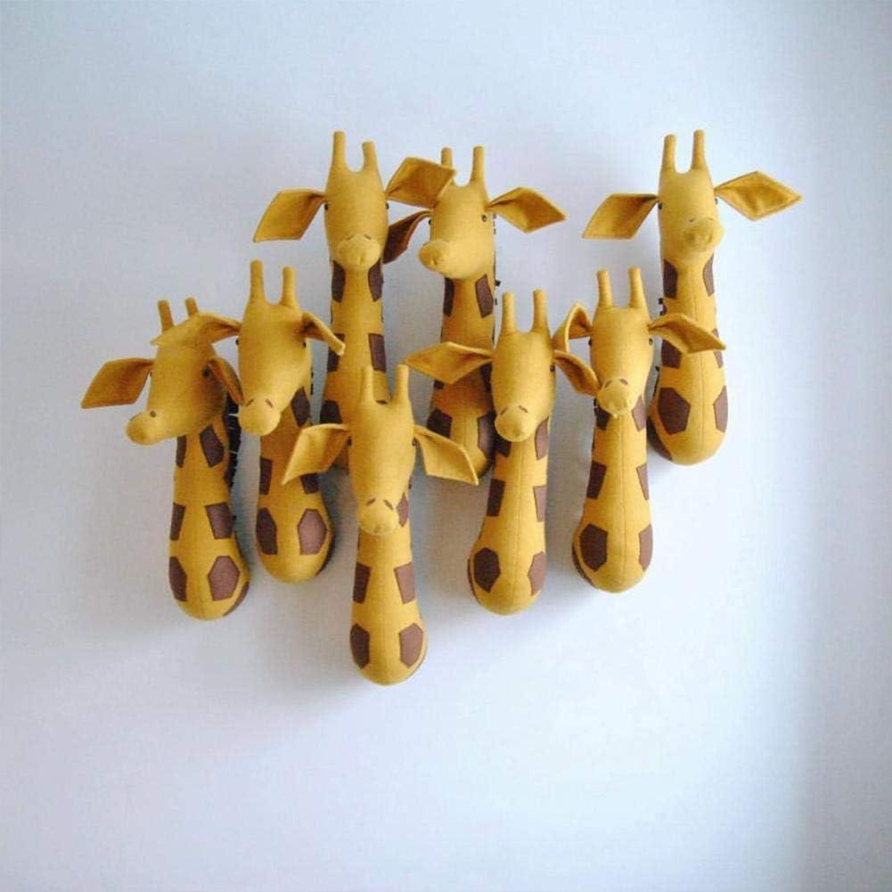 HUVE Peluche Animal T/ête Z/èbre Hippopotame Girafe /Él/éphant Lion Peluche Animal T/ête Montage Mural Chambre denfant Jardin D/écoration Murale Peluche WallToy Support Mural pour Enfants
