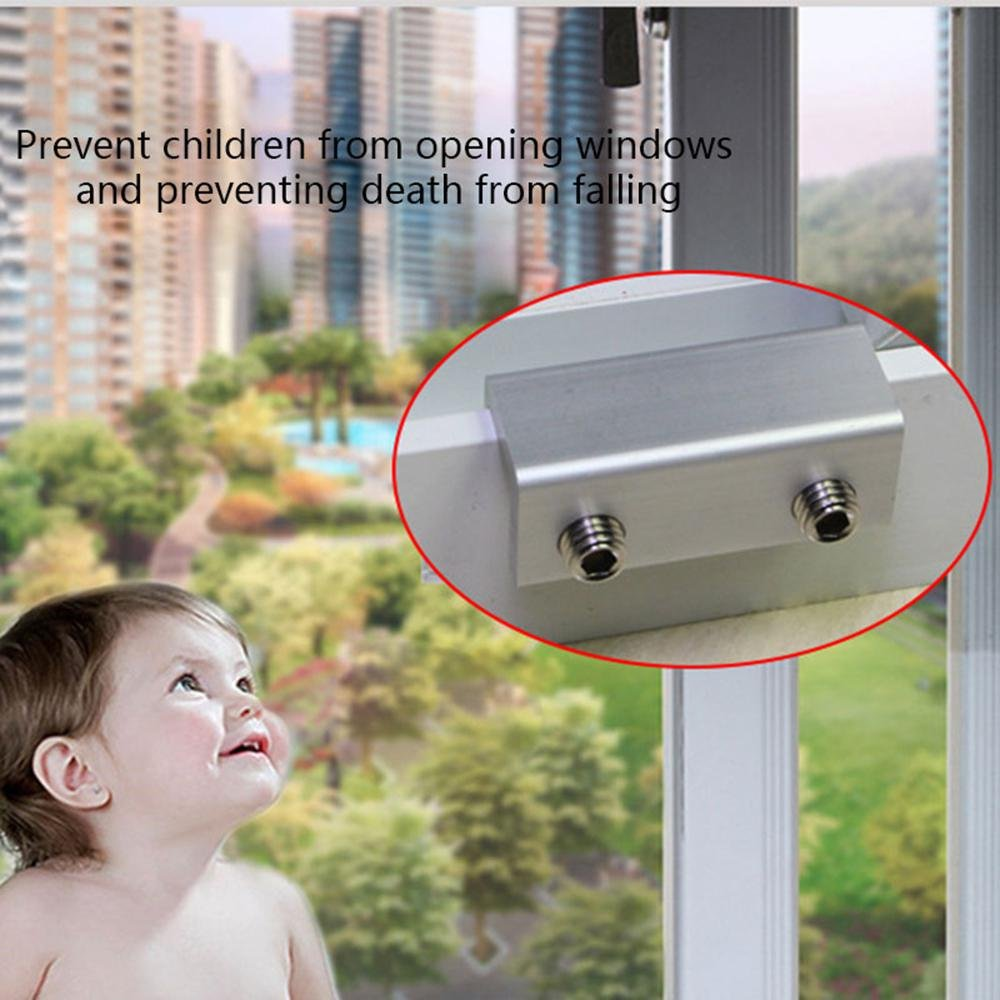 6 Pieces Sliding Window Locks Stop Aluminum Alloy Door Frame Security Lock with Keys Pawaca Sliding Window Lock Bar for Horizontal Vertical Windows and Sliding Glass Doors