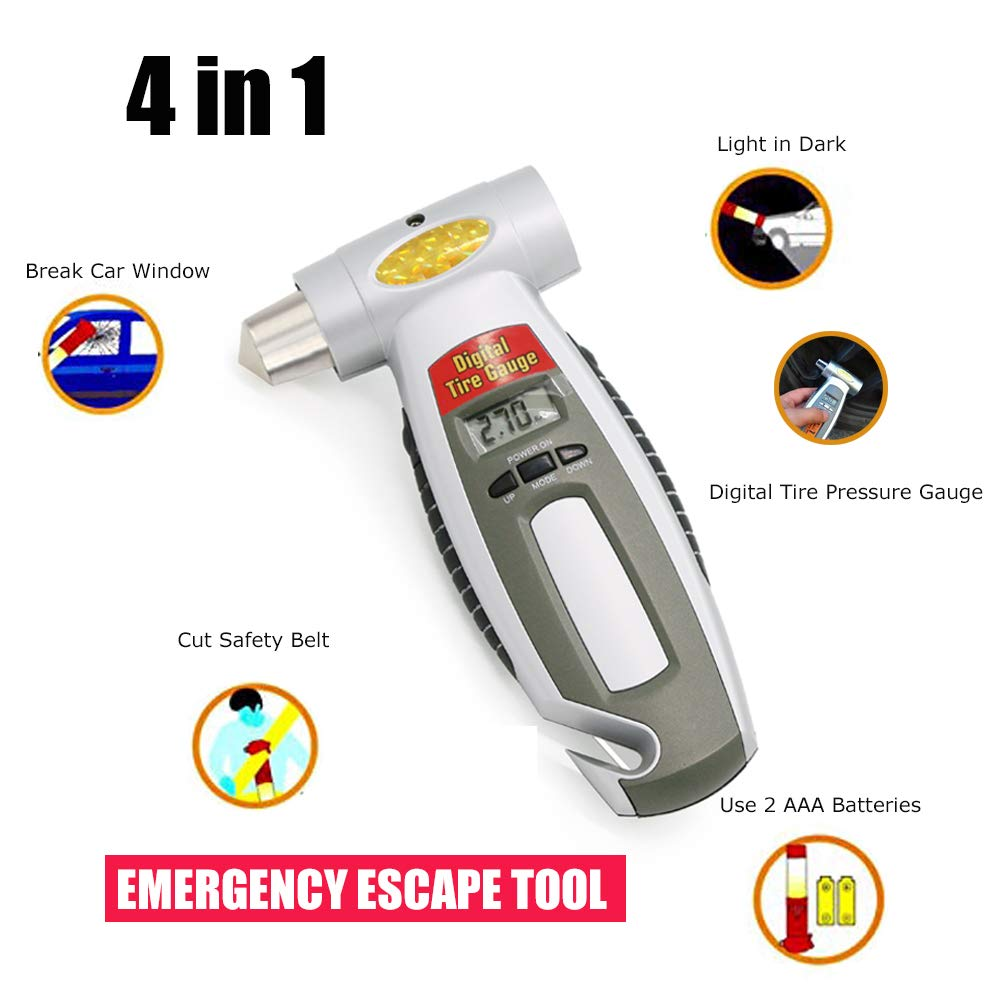 COPART 4-in-1 Car Emergency Vehicle Escape Hammer Digital Tire Pressure Gauge Window Breaker Seatbelt Cutter Flashlight