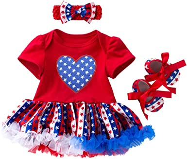4th of July Dress Outfit Baby Girl Sleeveless V Neck Dress Independence Day Dress with Headband Clothes Set
