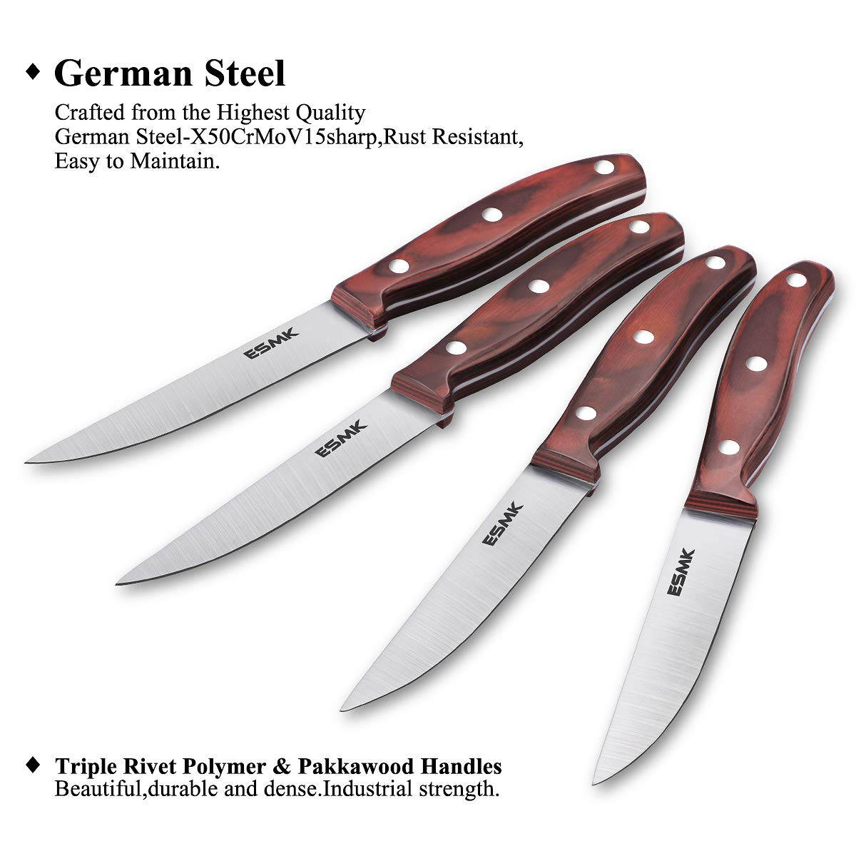 Knife Set, 15-Piece Kitchen Knife Set with Block Wooden, Manual Sharpening for Chef Knife Block Set, German Stainless Steel, ESMK (15 PCs Knife Block Set) by ESMK (Image #6)